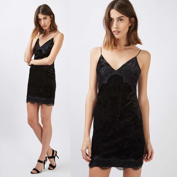 079d9d8e0096 Topshop Black Velvet Lace Trim Slip Dress Size - 6.  M_5b911896aaa5b866ea343acb